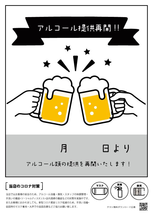 アルコール(お酒)の提供再開 ポスター【無料配布】 印刷用ダウンロード